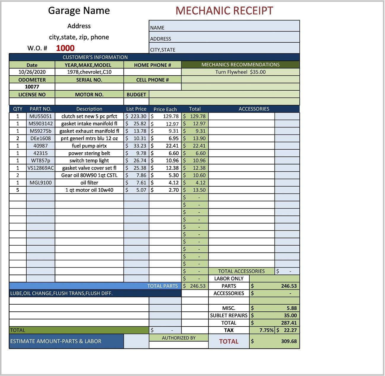 Mechanic Receipt Template Excel Form