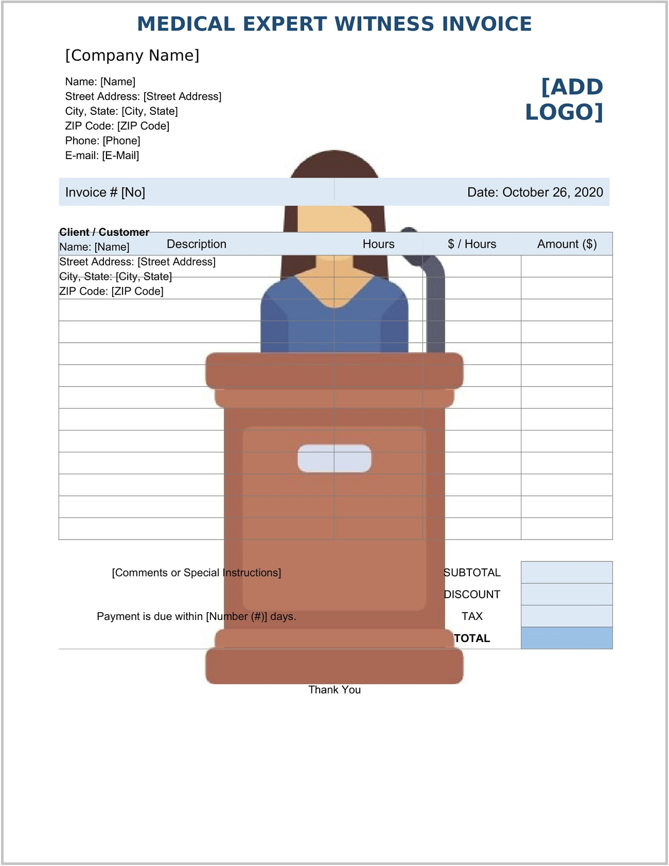 Medical Expert Witness Invoice Form Word Template