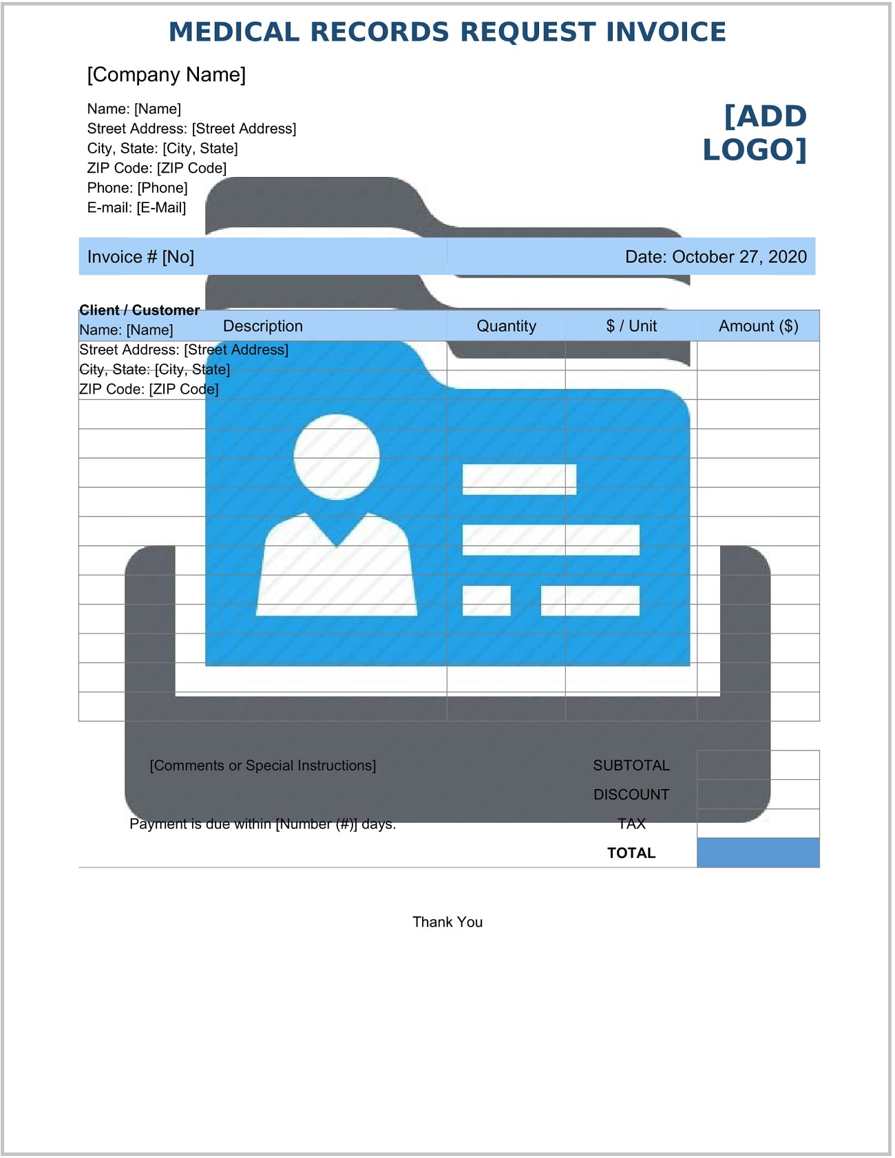 Medical Records Request Invoice Form Template Word