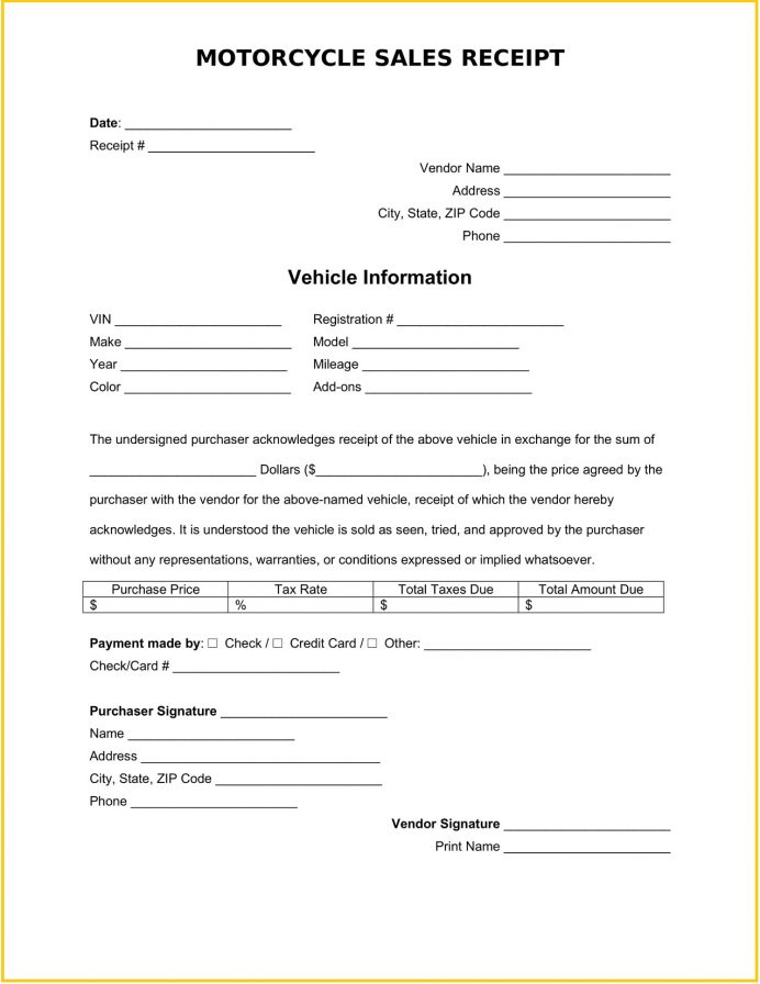 Motorcycle Sales Receipt Template Word Free Receipt Motorcycle Sales Receipt Template Sample