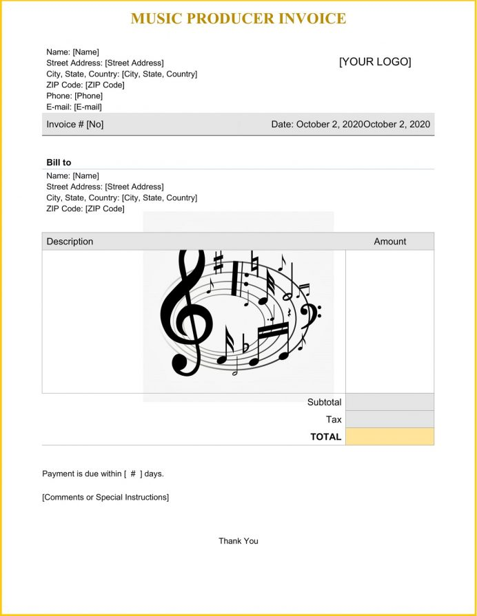 Music Producer Invoice Template Word Invoice Music Producer Invoice Template Example