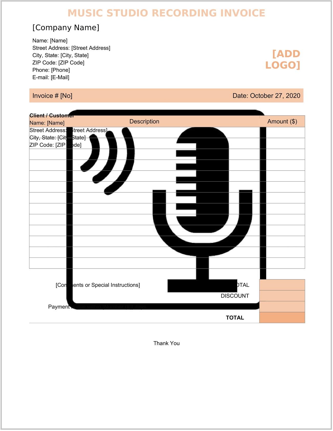 Music Studio Recording Invoice Word Form Template