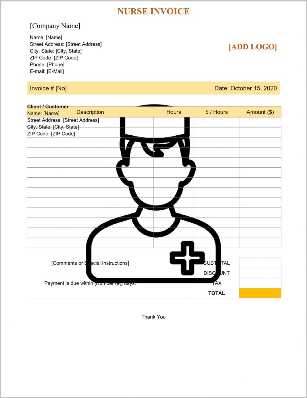 Nurse Invoice Template Word Doc Form Medical Records Bill Format Doctor Personal Care  Sample Large