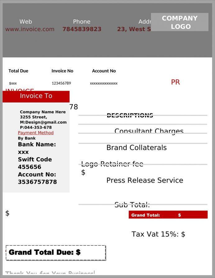 PR Consultant Invoice Template Word (Public Relations) Sample Consulting Template, Blank Excel, Individual Professional Services