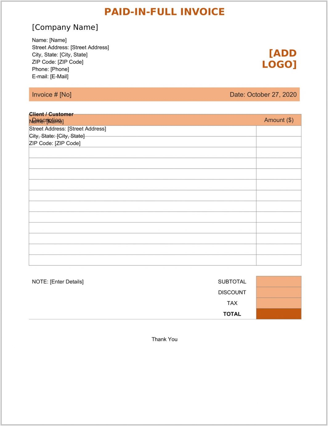 Paid In Full Invoice Template Word Form Payment Receipt Free Pdf  (in-full) Sample Large