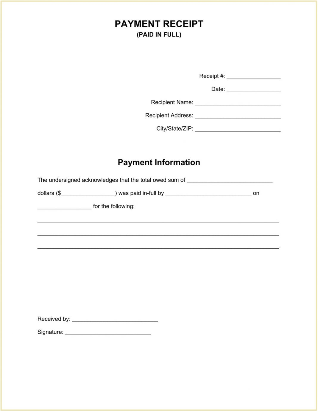 Paid In Full Receipt Form Word Template Payment Pdf Cash Of Free  (in-full) Example Large