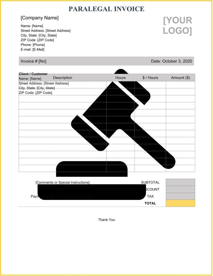 Paralegal Invoice Word Template Invoice Sample Paralegal Invoice Template