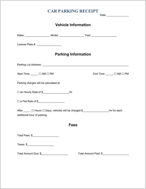 Parking Receipt Template Word Slip Sample Free Generator Lot Receipts Pdf  Example Large
