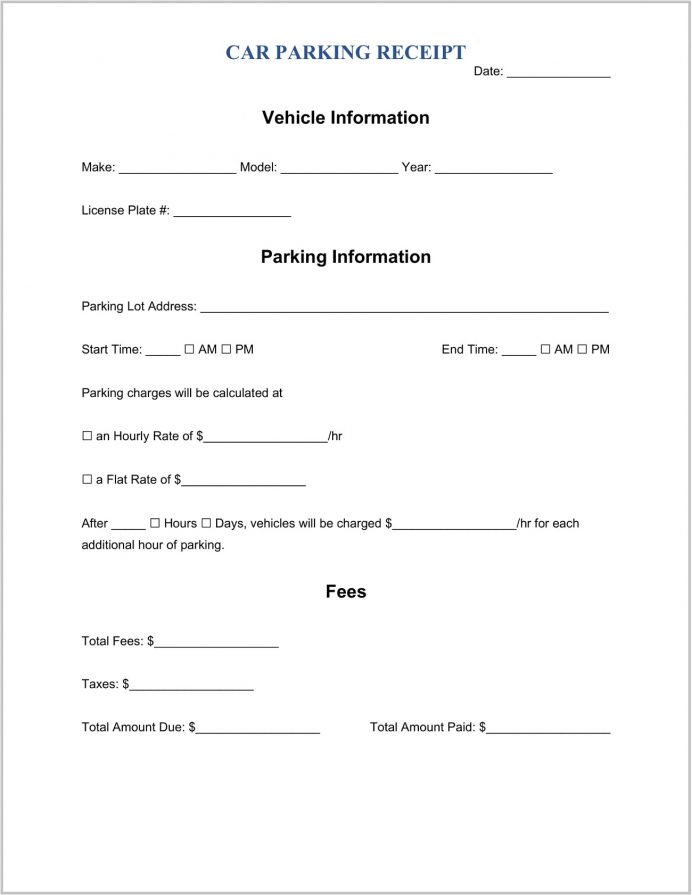 Parking Receipt Template Word Lot Pdf Receipts Printable Monthly  Example