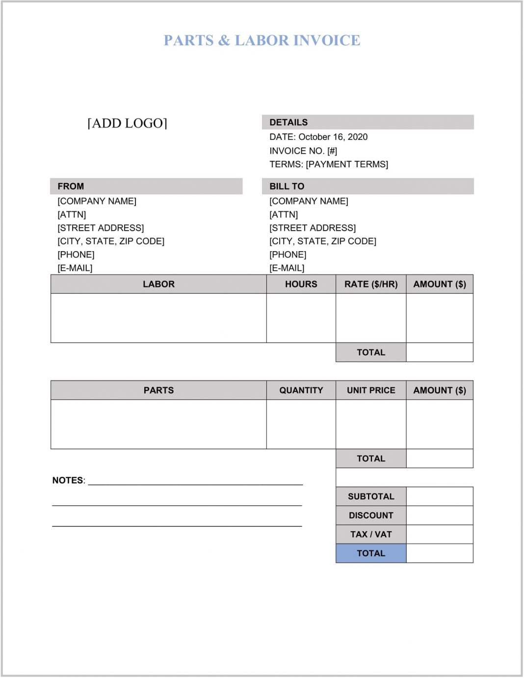 Parts And Labor Invoice Word Template Form Fencing Templates Printable Free Paper Farm  Sample Large