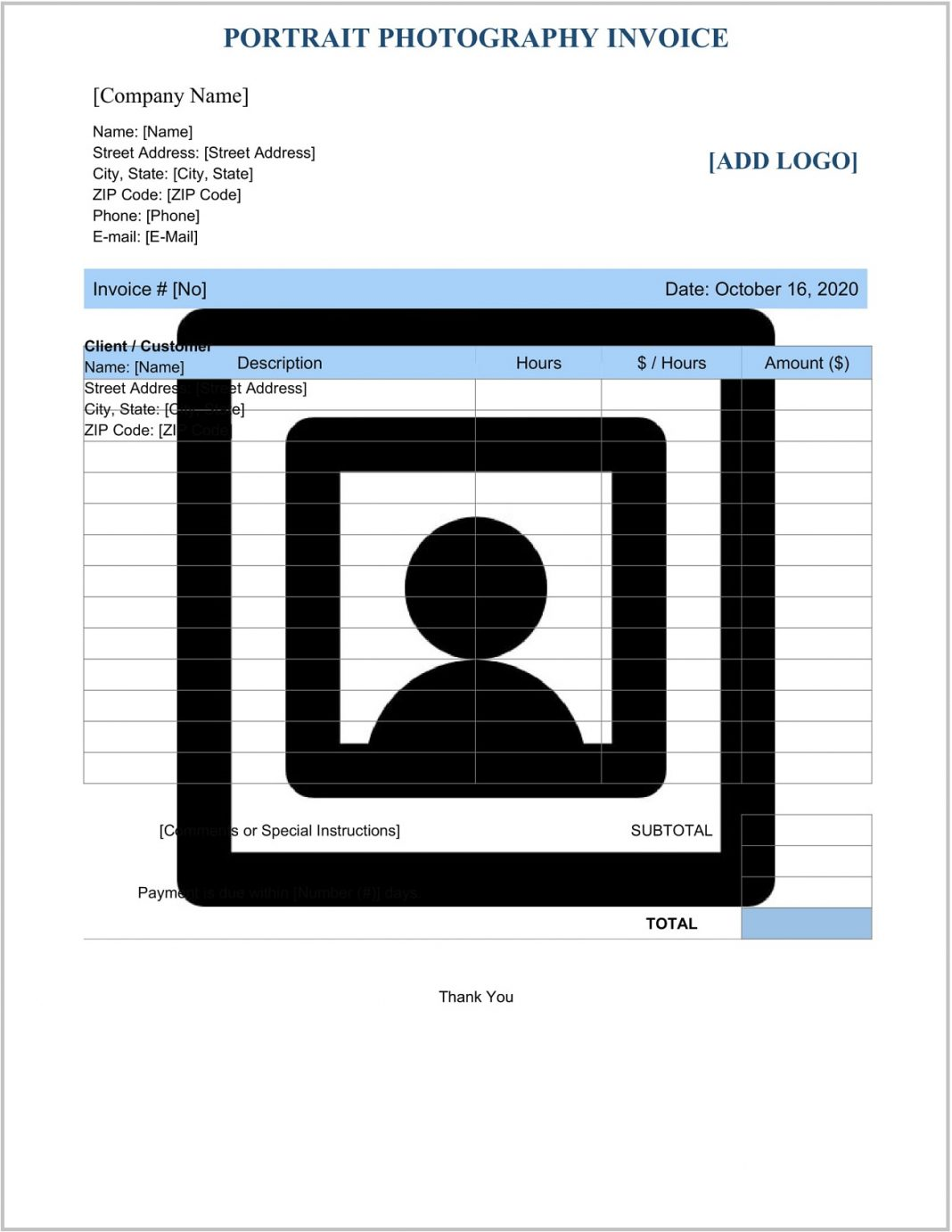 Portrait Photography Invoice Template Word Form Bill Book Format Psd Google Docs Photo Studio In  Example Large