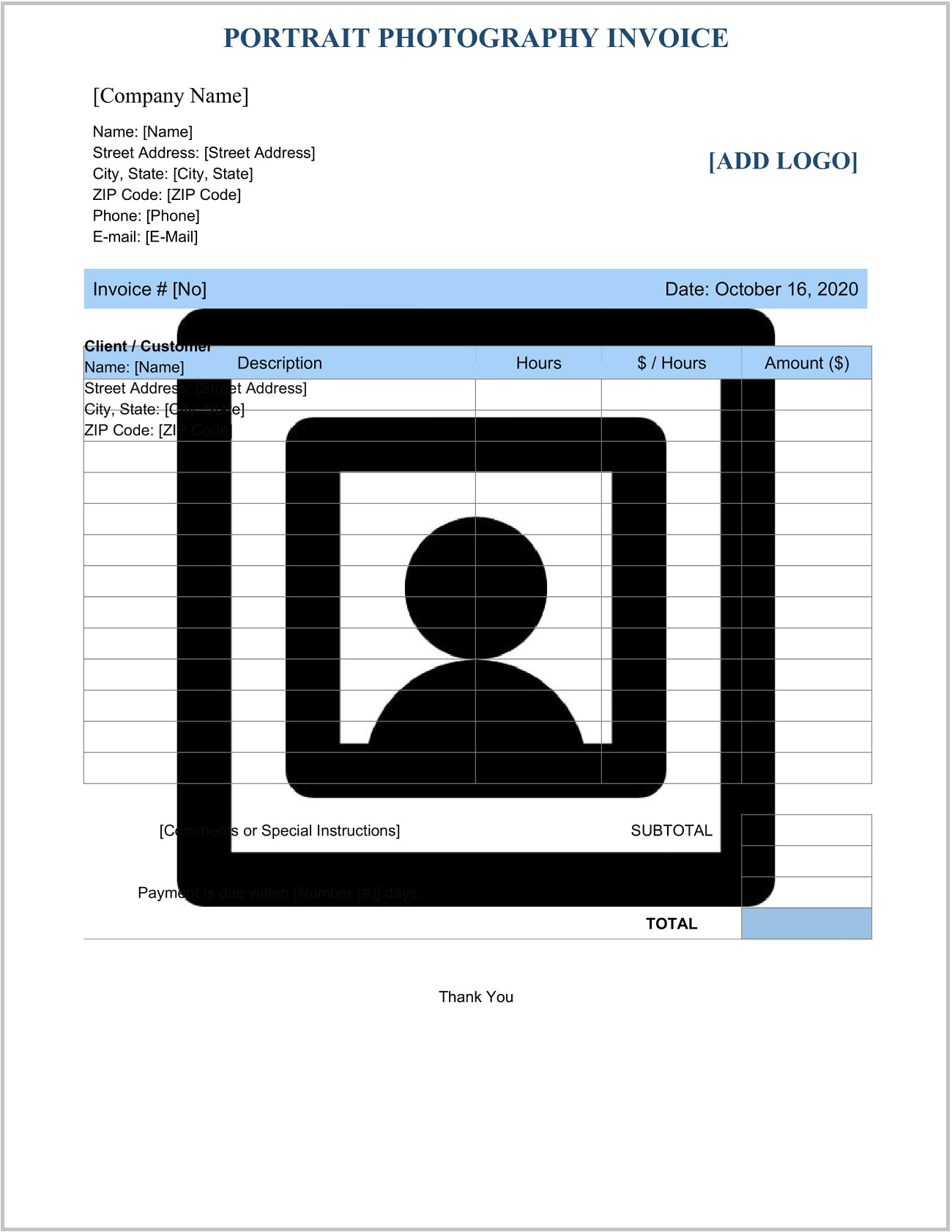 Portrait Photography Invoice Template Word Form