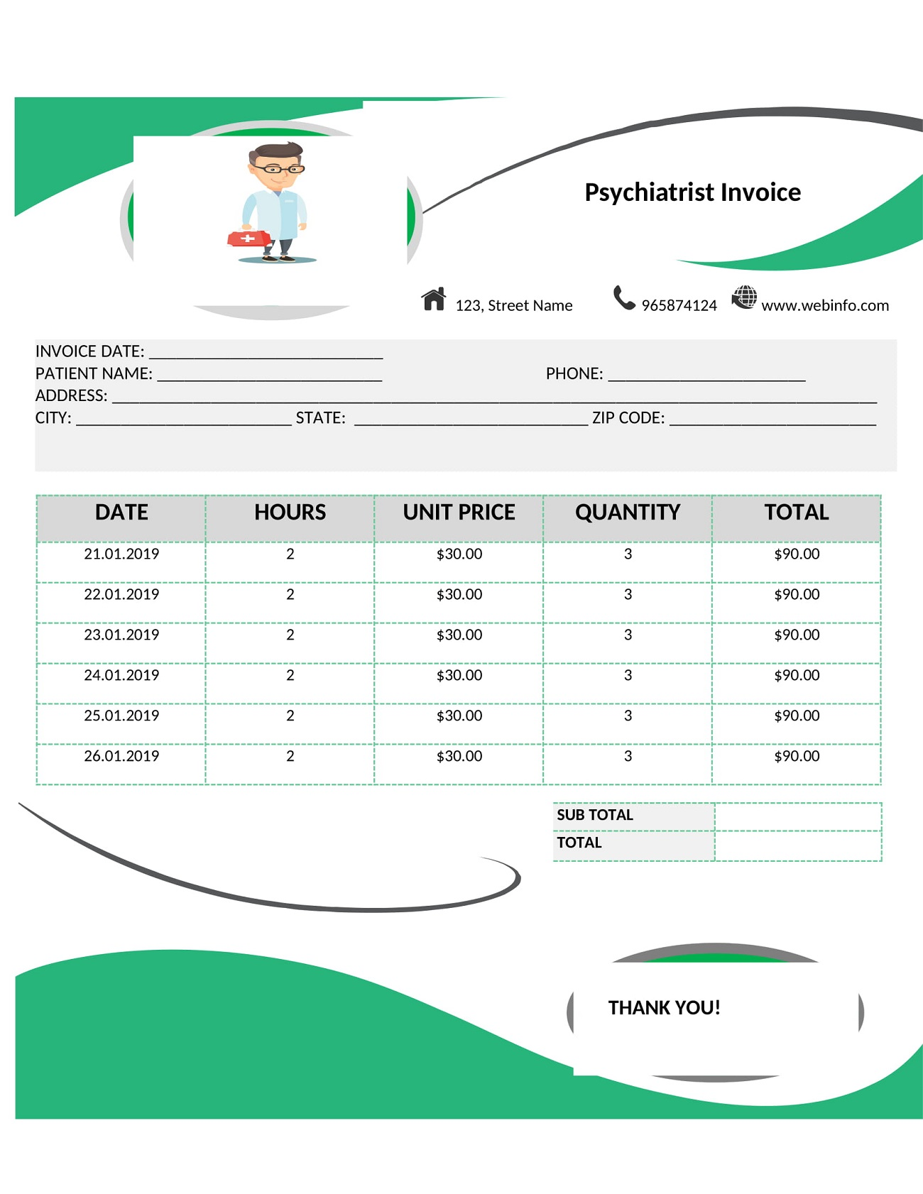 Psychiatrist Practitioner Invoice Template Word Form