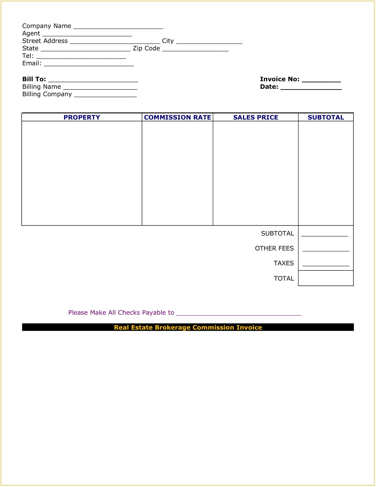 Real Estate Commission Invoice Form Word Docx Template