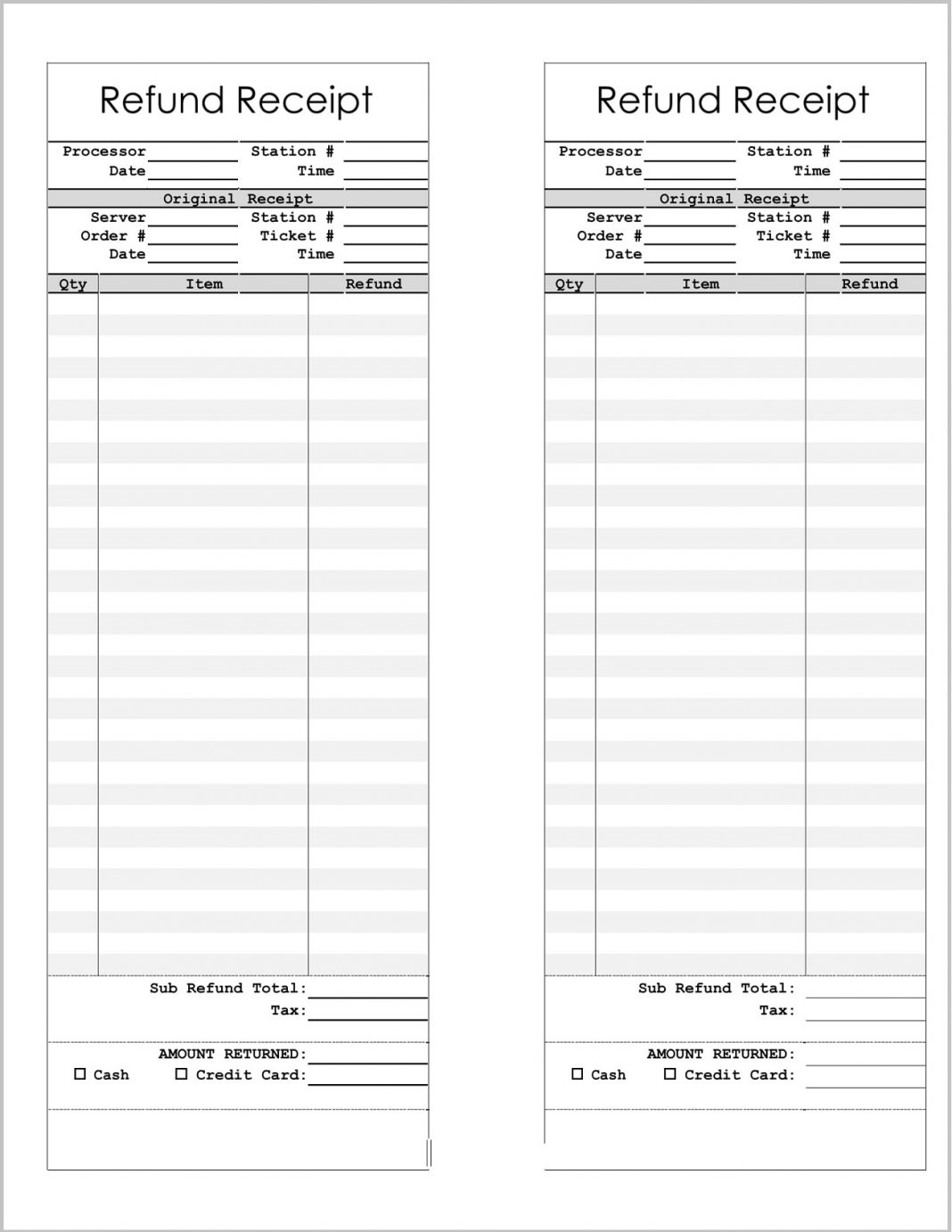 Refund Receipt Template Word Form Payment Letter Meaning  Example Large