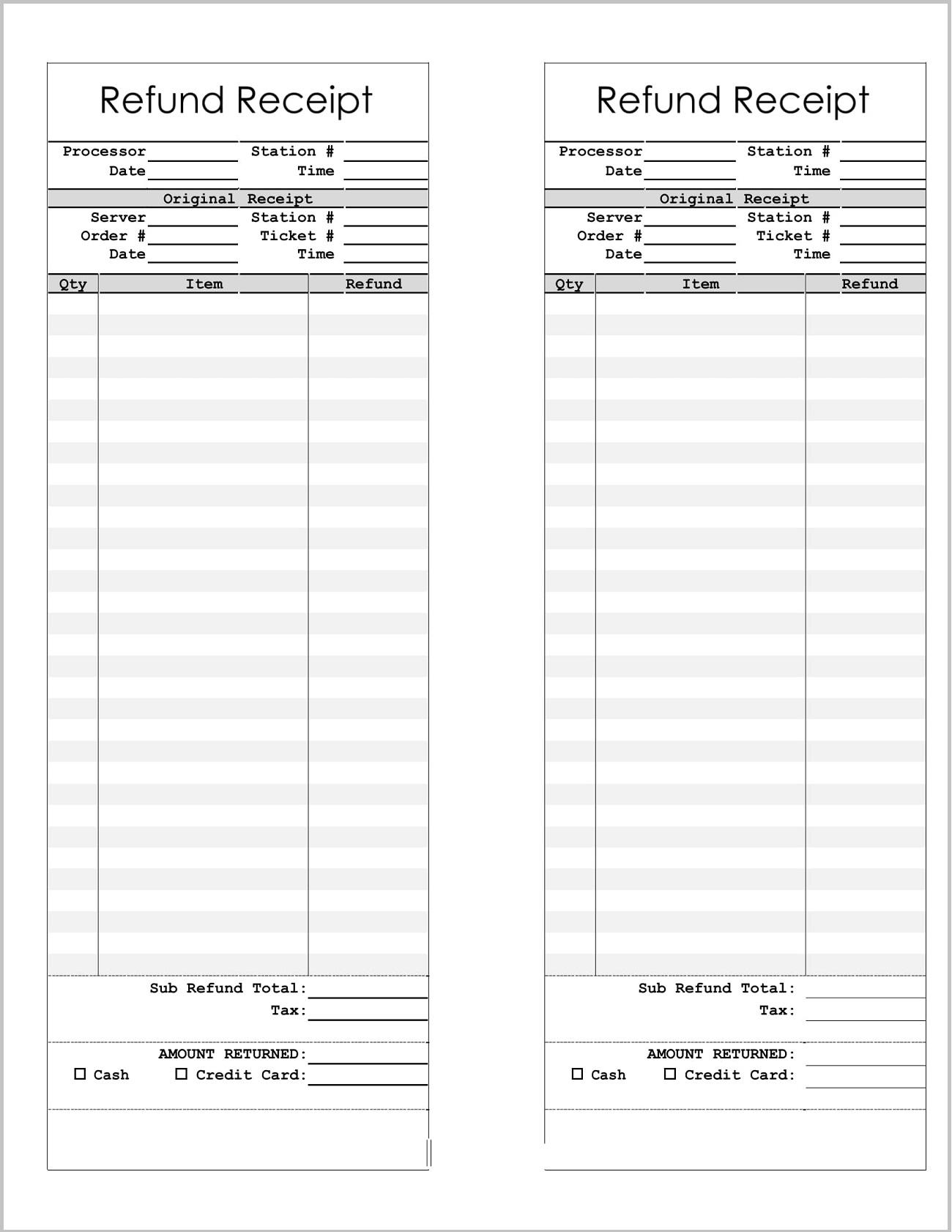 Refund Receipt Template Word Form