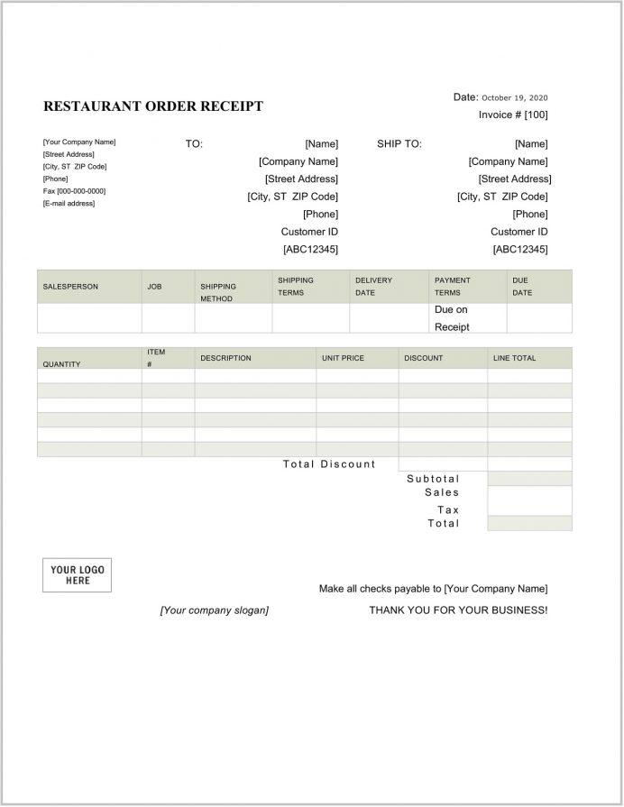 Restaurant Order Receipt Template Word Receipt Sample Restaurant Receipt Template