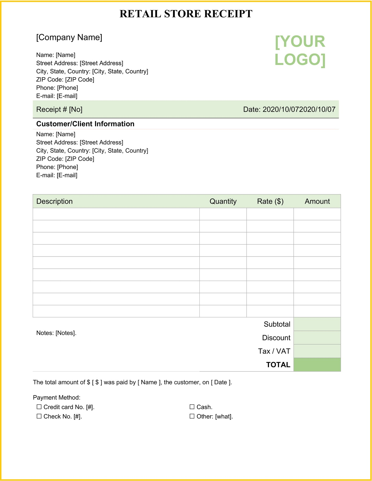 Retail Store Receipt Template Word