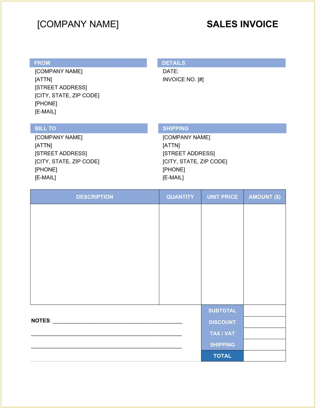 Sales Invoice Template Word Form
