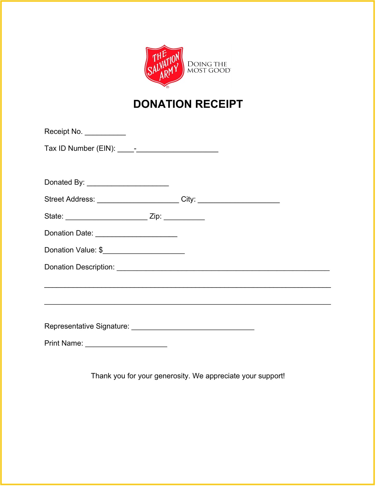 Salvation Army Donation Receipt Word Template