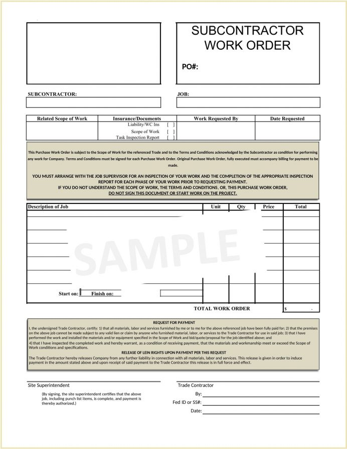 Sample Subcontractor Work Order Form Word Template Work Order Sample Subcontractor Work Order Template