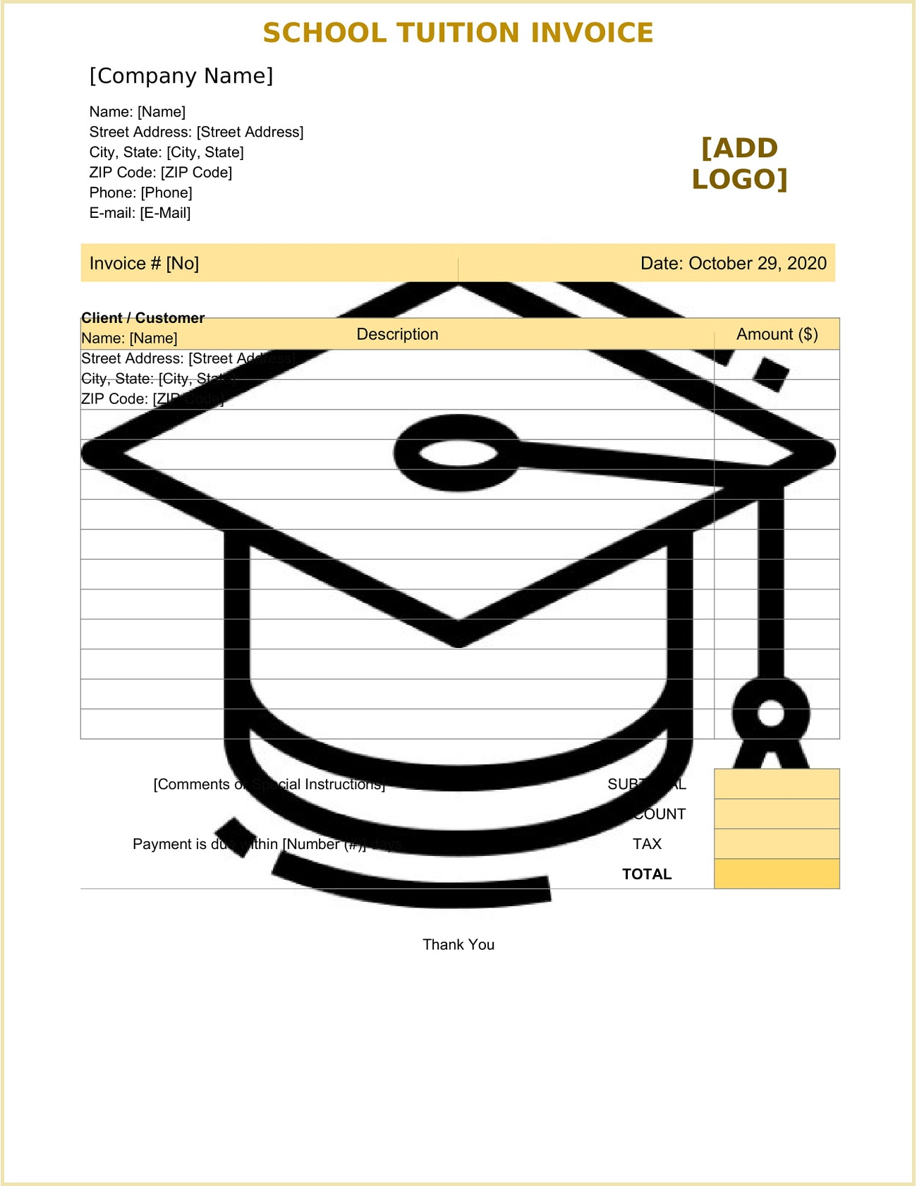 School Tuition Invoice Form Template Word