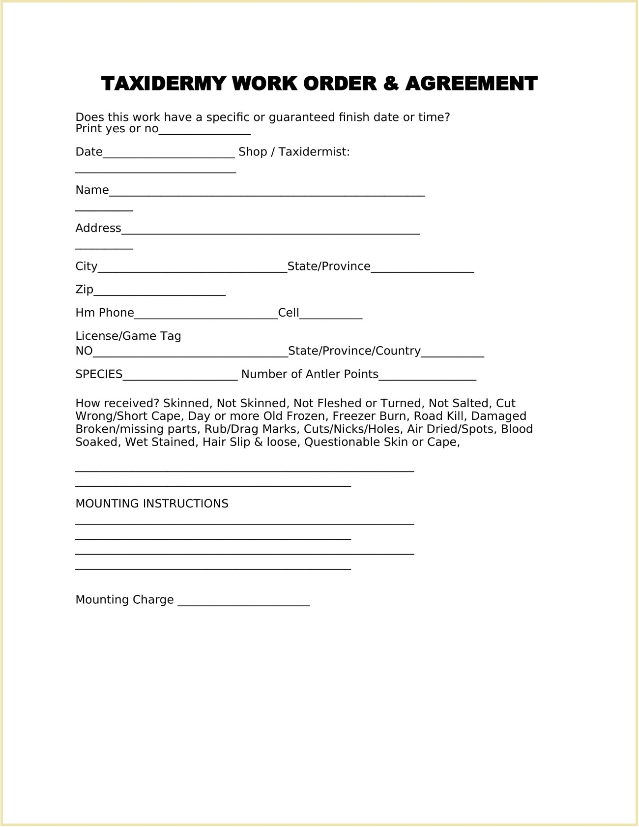 Taxidermy Work Order Form Template Word