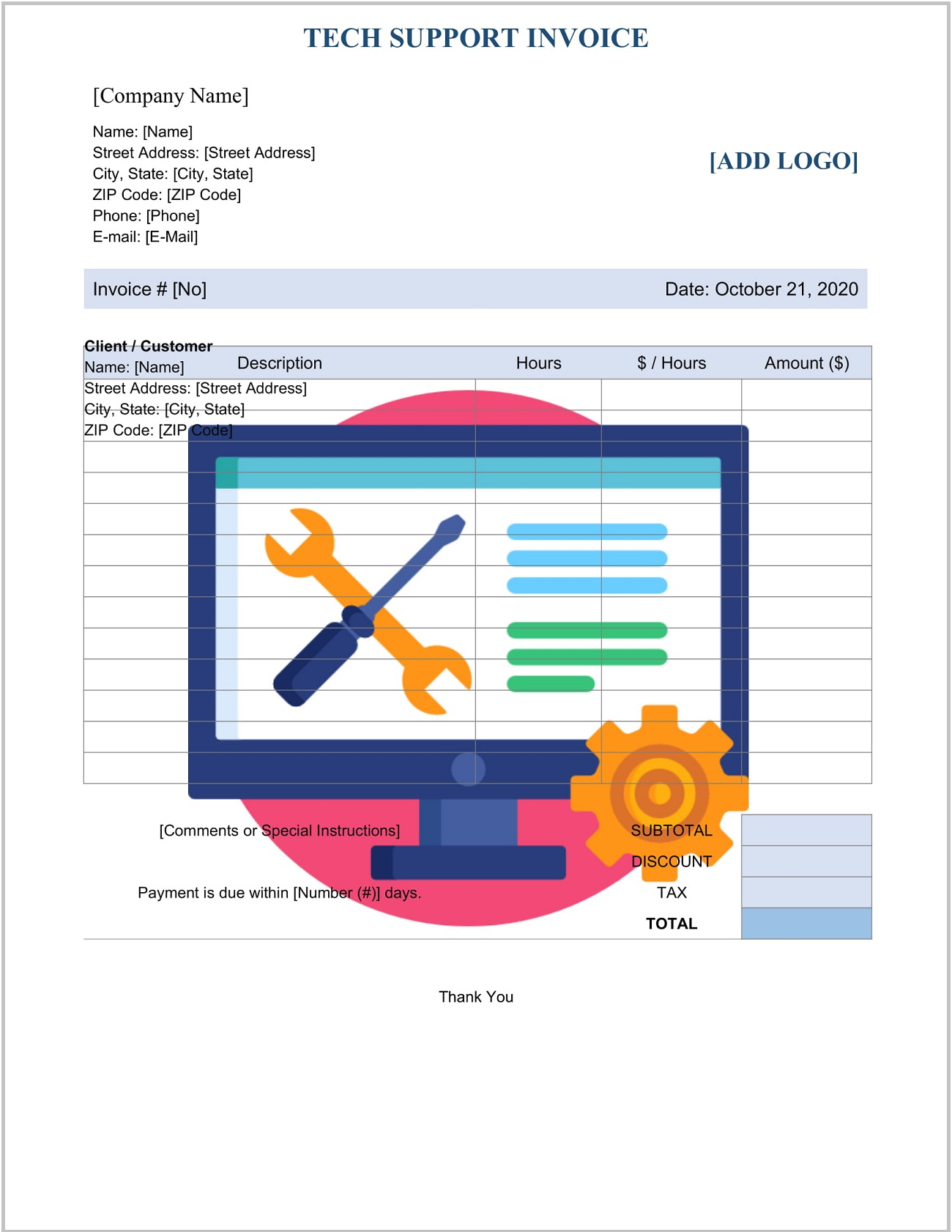 Tech Support Invoice Template Word Doc Format