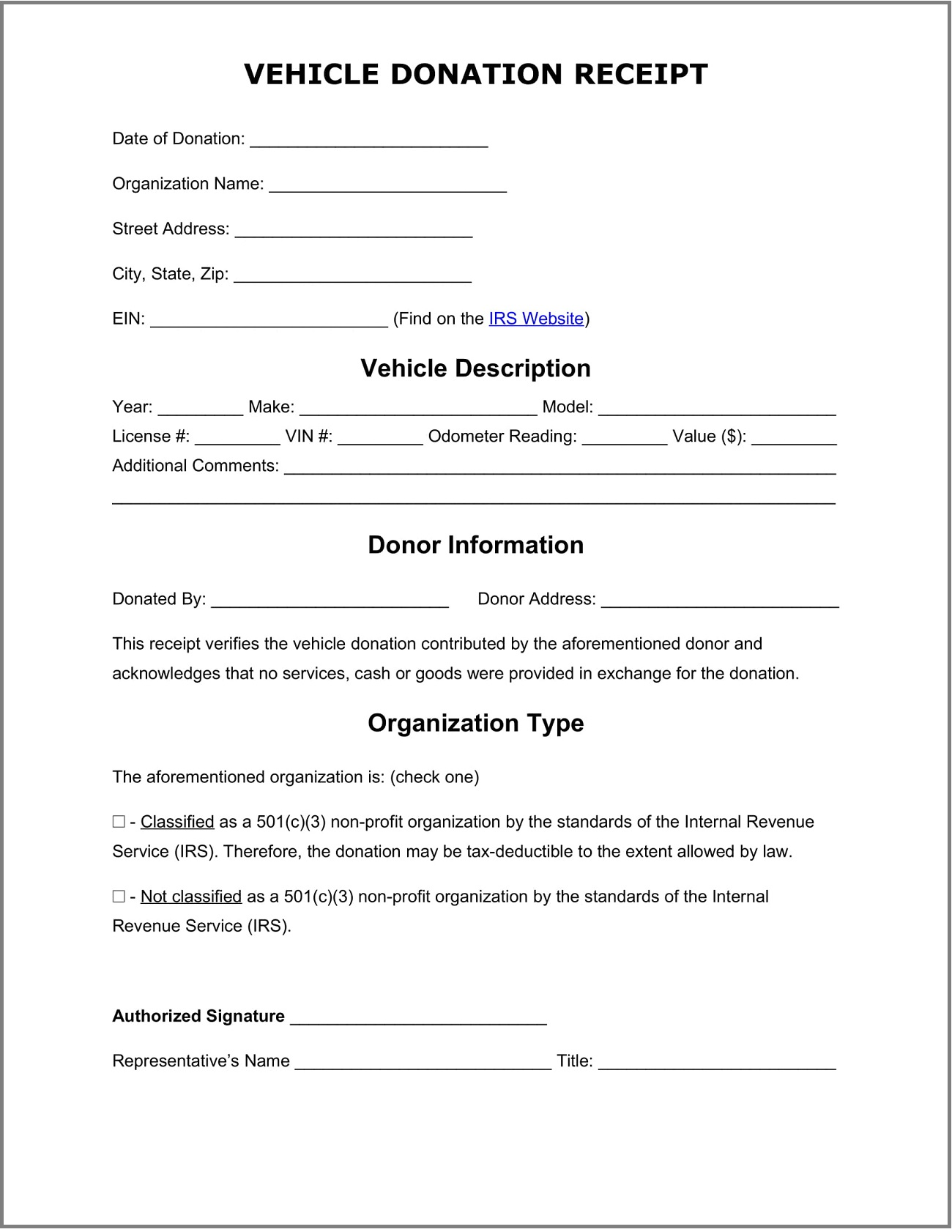 Vehicle Donation Receipt Template Word