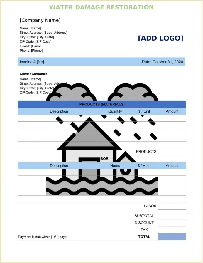 Water Damage Restoration Invoice Form Word Doc Template Invoice Sample Water Damage Restoration Invoice Template