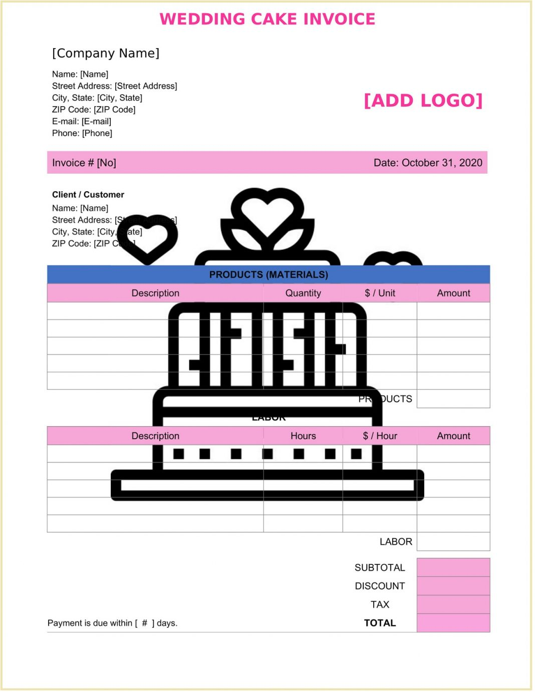 Wedding Cake Invoice Form Template Word Free Quote App Printable Uk Baking  Example Large