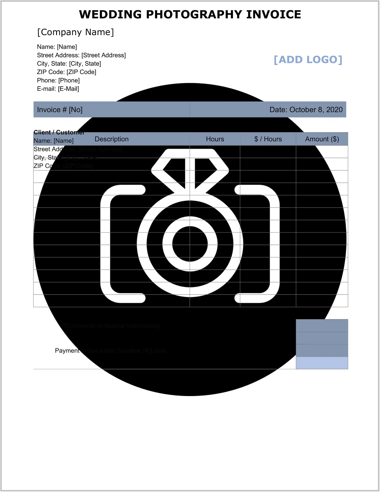 Wedding Photography Invoice Template Word
