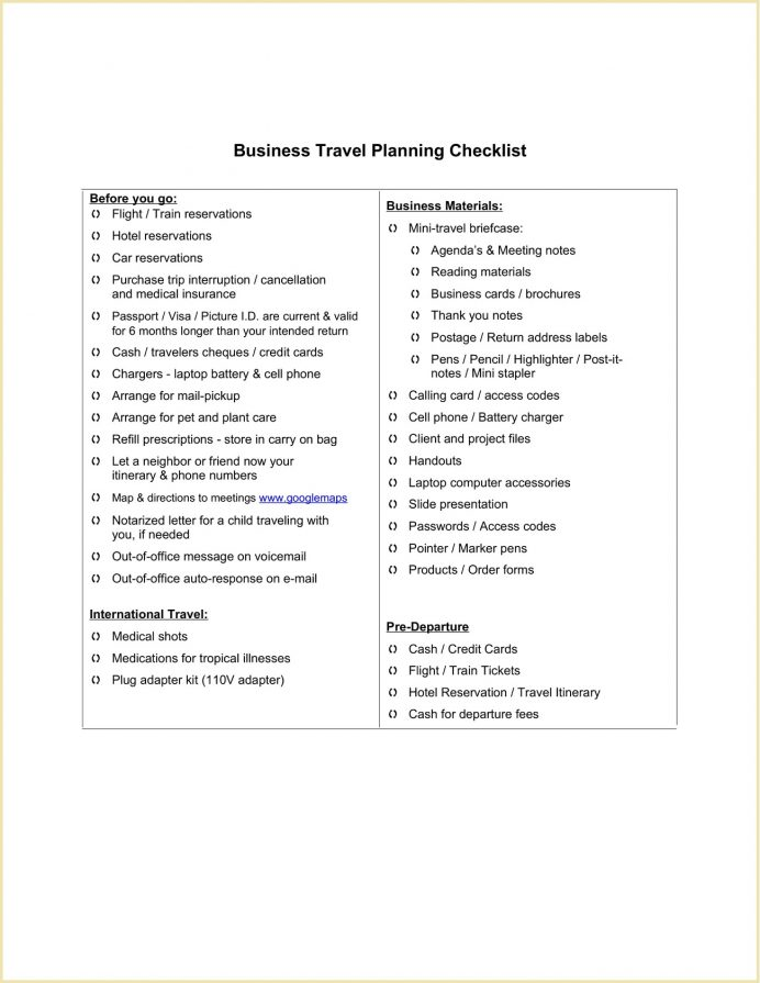 Business Travel Planning Checklist Template Word Doc Executive Assistant Covid-19 Packing Tips Pdf  Example