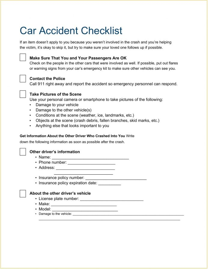 Car Accident Checklist Template Word Doc What To Do After A Not Your Fault Printable Auto Form Minor  Example