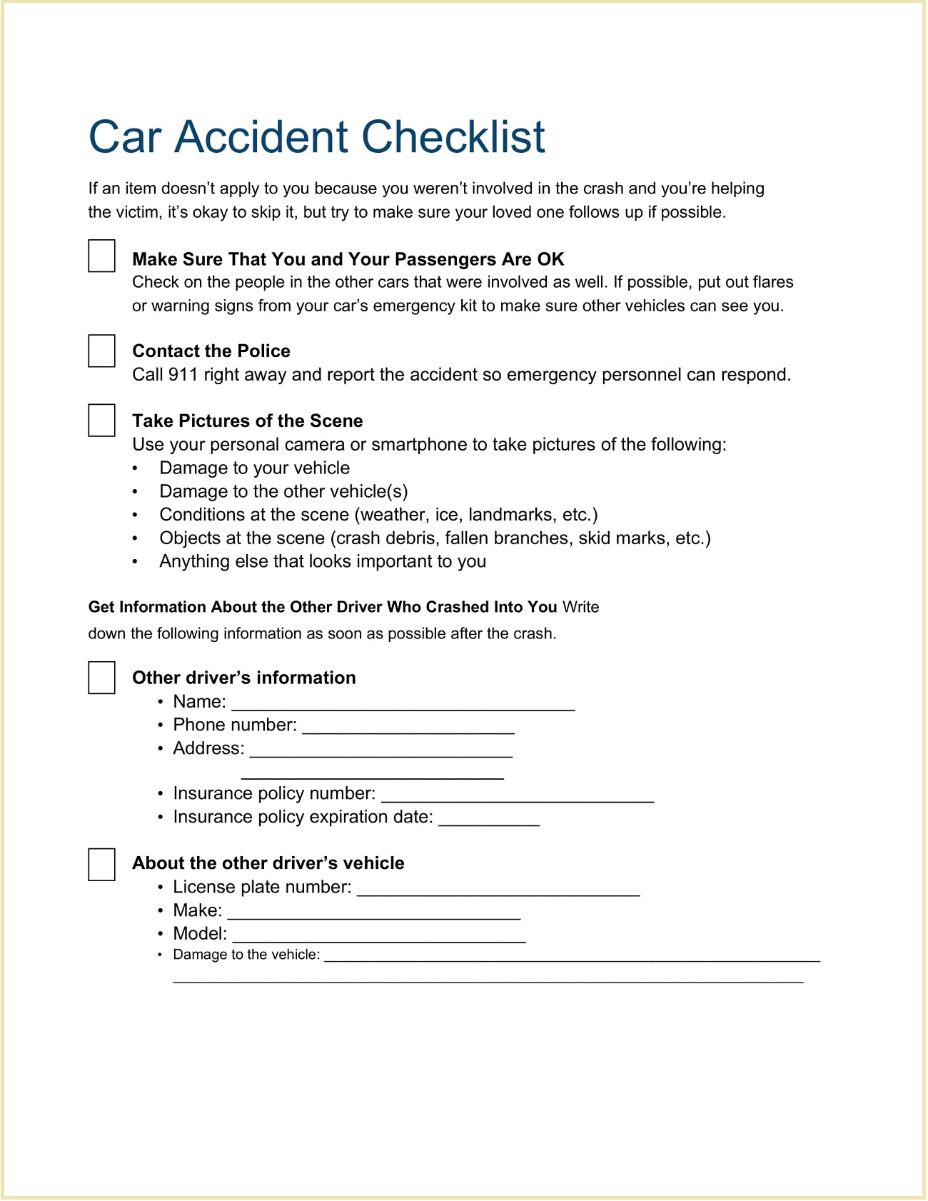 Car Accident Checklist Template Word Doc