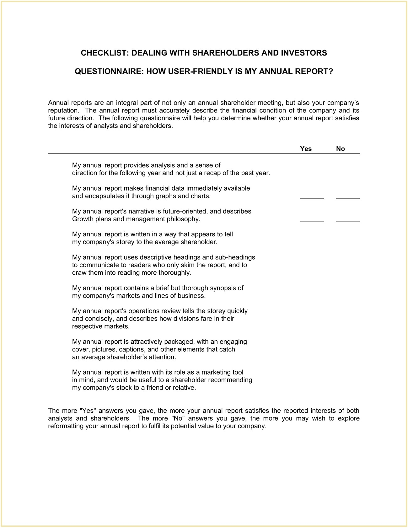 Checklist Dealing with Shareholders and Investors Template Word