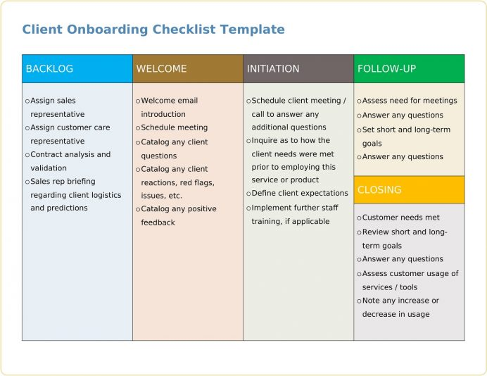 Client Onboarding Checklist Template Word Sample Excel, Pdf, Accounting, Financial Services,