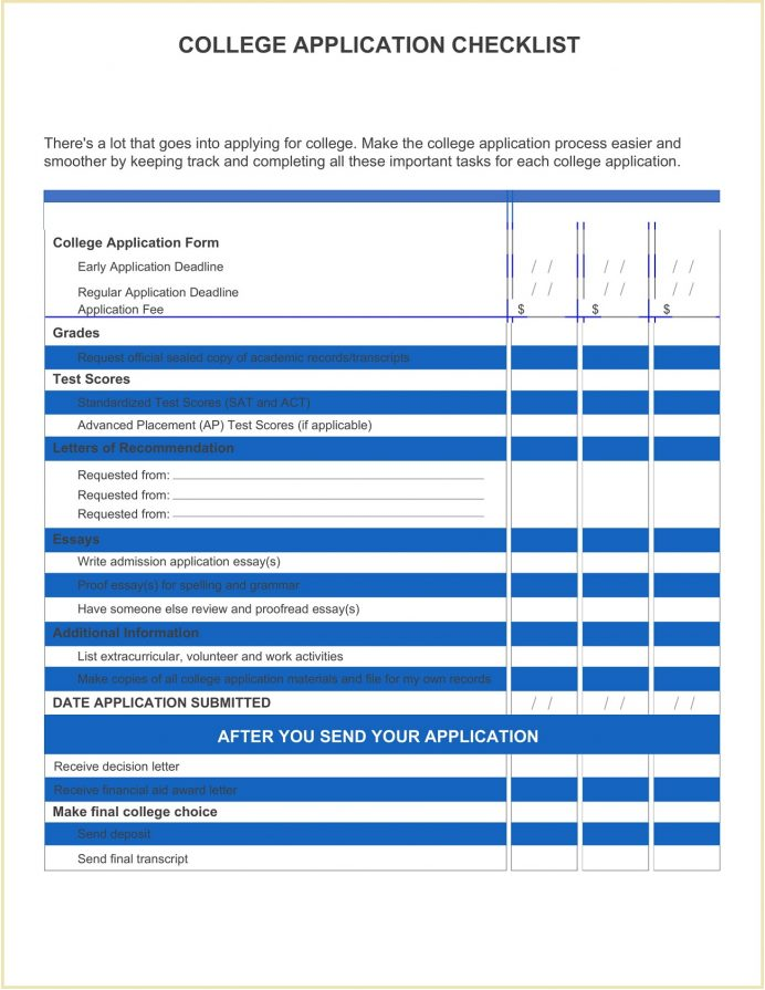Form College Application Checklist Template Word Spreadsheet 2021 For High School Seniors Chart  Sample