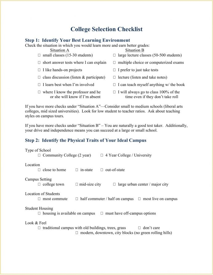 College Selection Checklist Form Sample Pdf Template How To Choose A Make Evaluation Worksheet Top Three Things In Selecting  Example
