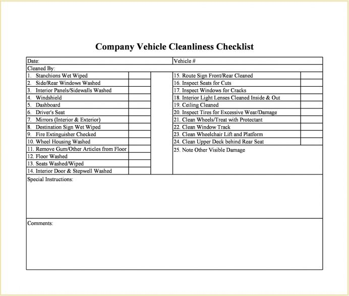 Company Vehicle Cleanliness Checklist Template Excel Cleaning Format Food Industry Covid-19 Pdf Safety  Example