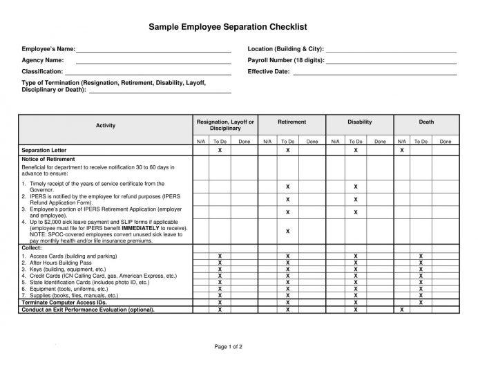 Employment Separation Checklist Sample PDF Template Checklist Example Employee Separation Checklist Template