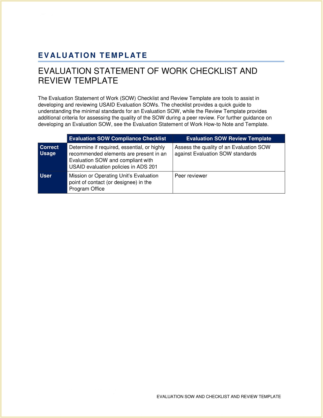 Evaluation Statement of Work Checklist Template PDF
