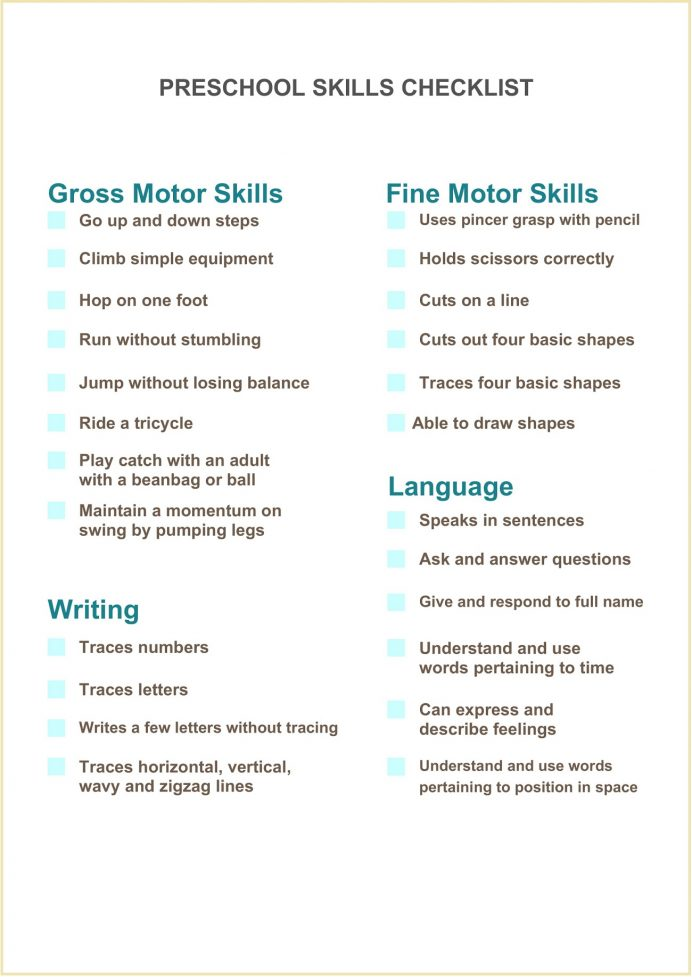 Form Preschool Skills Checklist Template Word Kindergarten Assessment Pdf 4-year Old  Of Sample