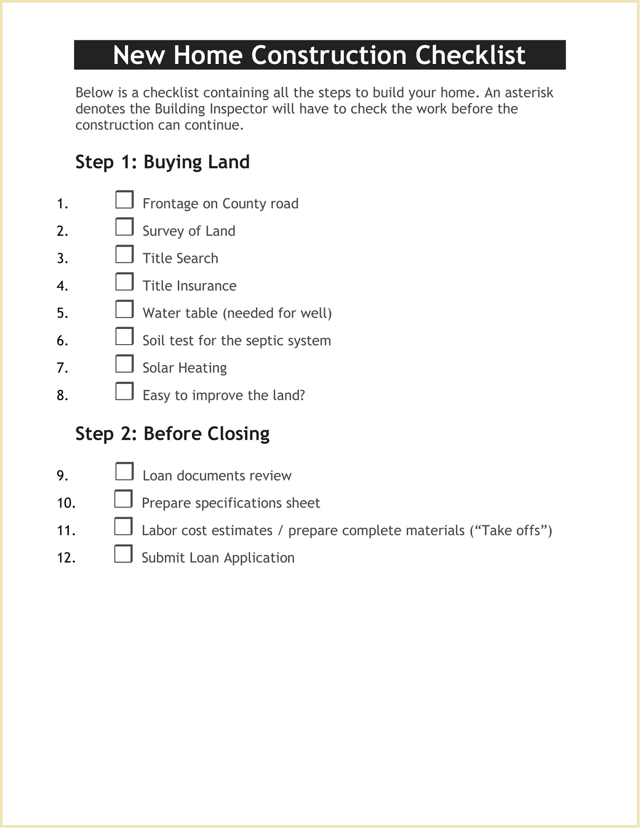 Homeowners New Home Construction Checklist Template Word