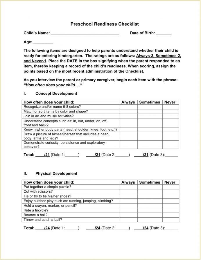 Kindergarten Preschool Readiness Checklist Template Pdf Activities Skills Assessment Printable For Teachers  Sample