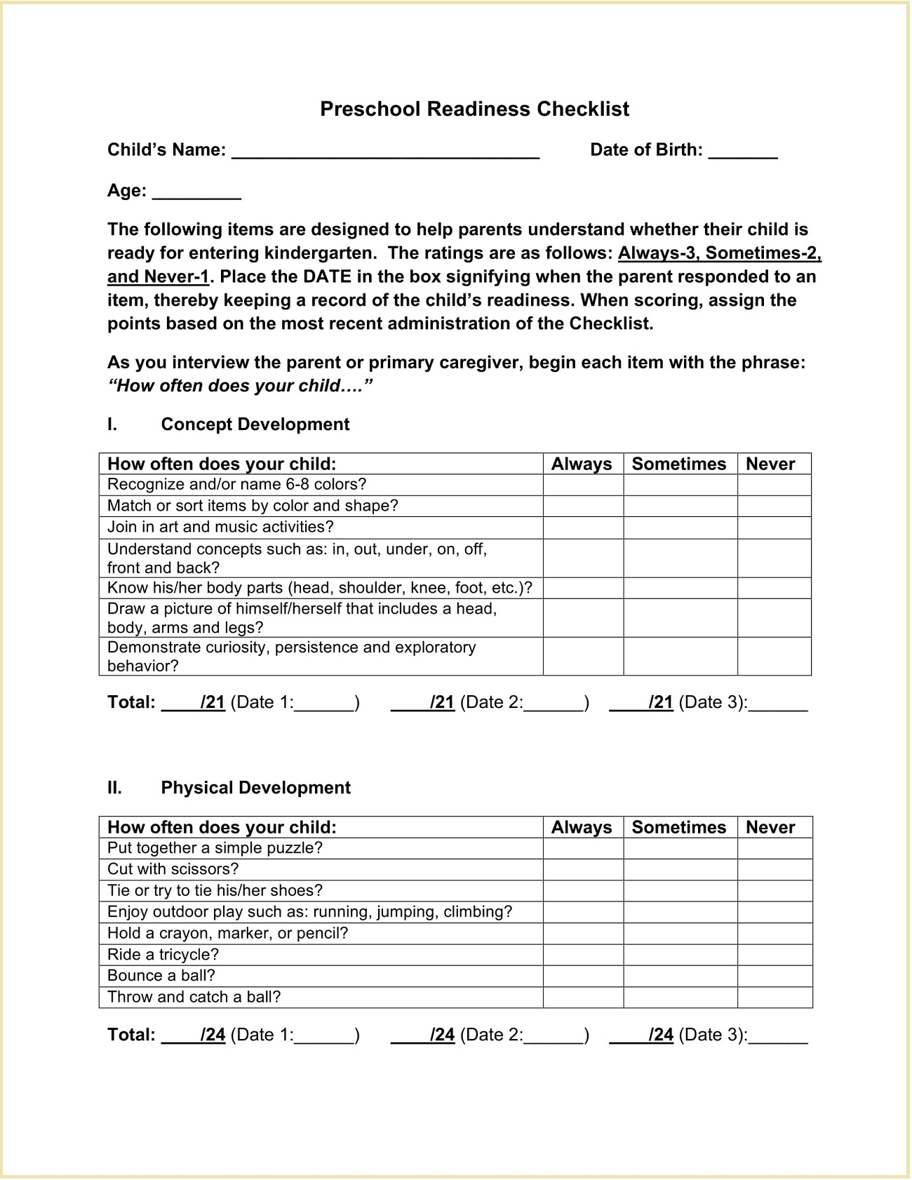 Kindergarten Preschool Readiness Checklist Template PDF