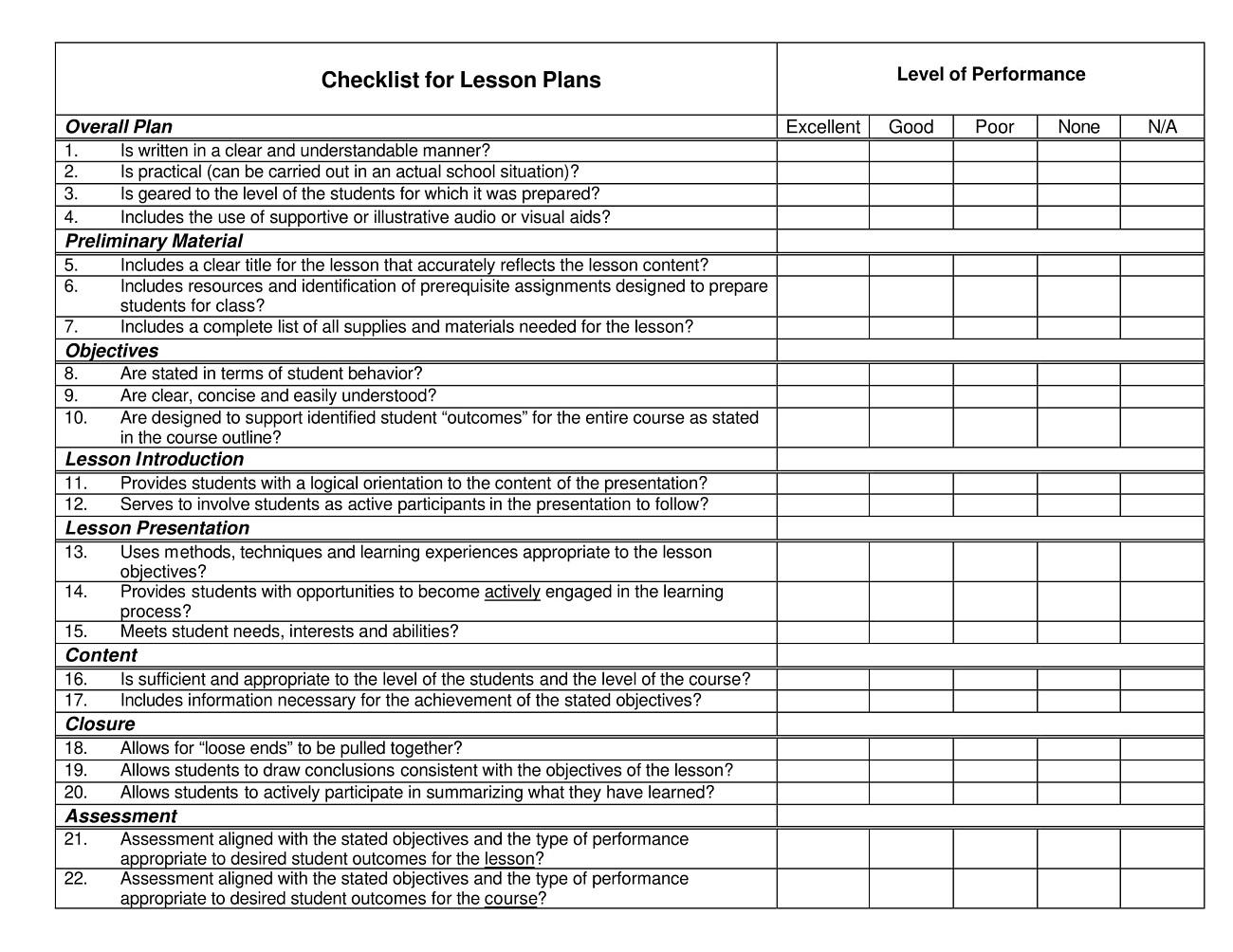 Lesson Plan Evaluation Checklist Template PDF