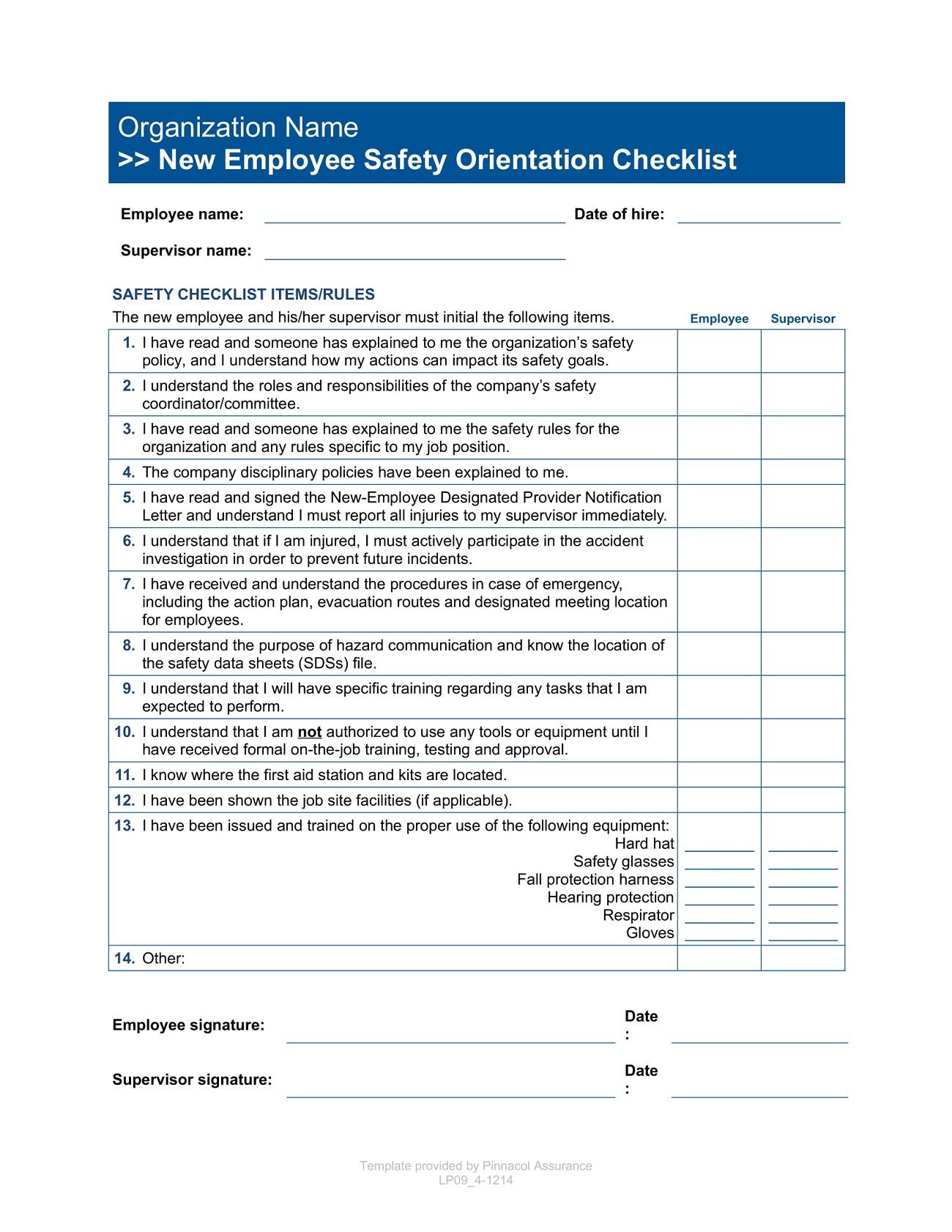 Form New Employee Safety Orientation Checklist Template Word
