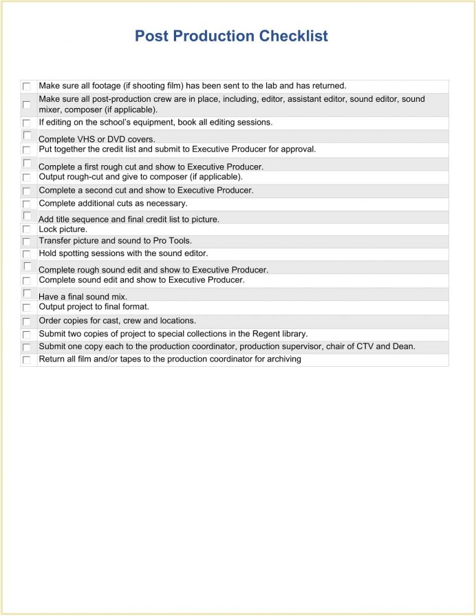 Post Production Checklist Form Sample Template Word Roles Workflow Schedule Editing For Dummies  Example