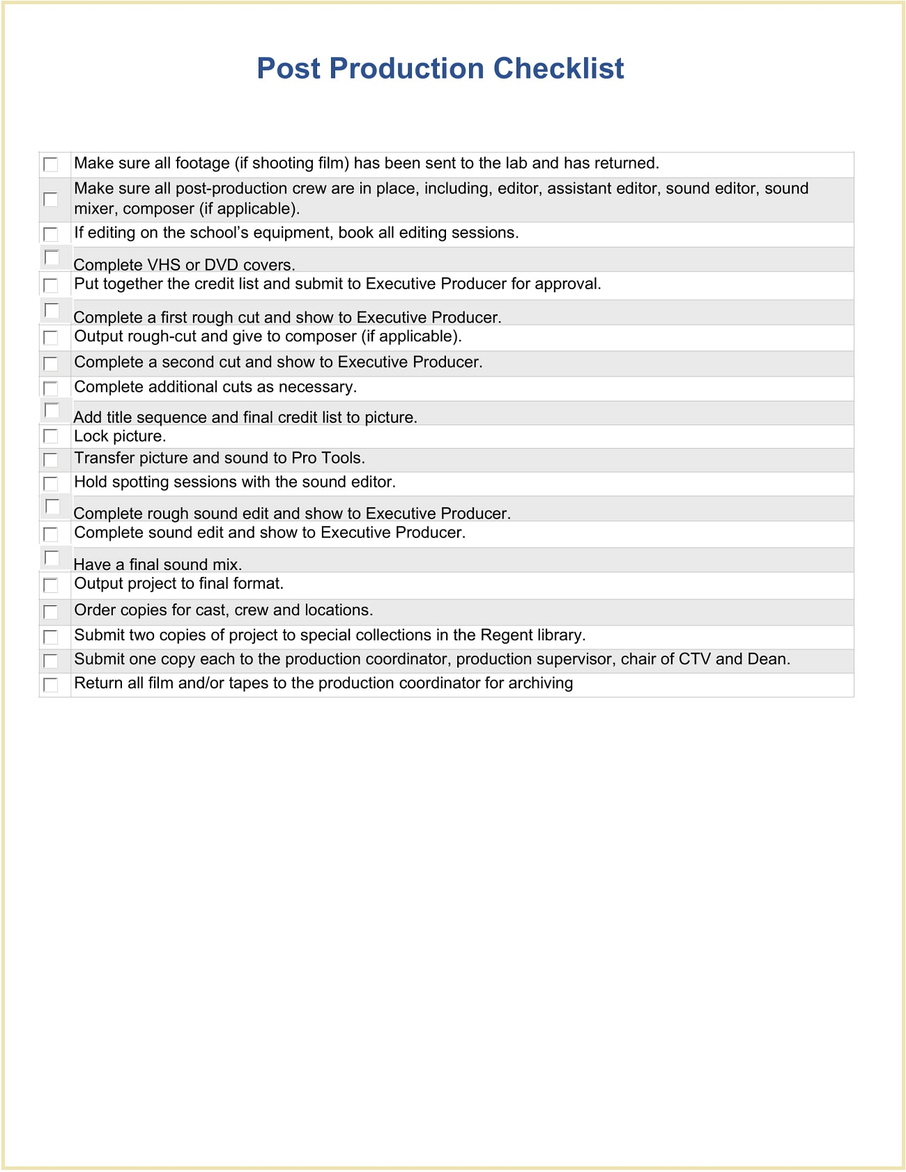 Post Production Checklist Form Sample Template Word